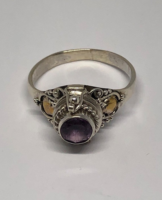 Poison Ring, Silver Amethyst Poison Ring Size 10