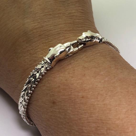 Milor Italy 925 Sterling Silver Wide Macaroni Link Bracelet 7.5