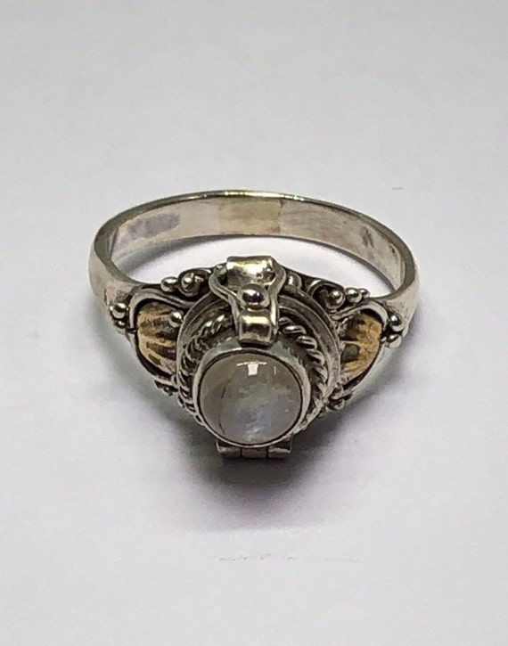 Poison Ring, Silver Moonstone Poison Ring, Size 5