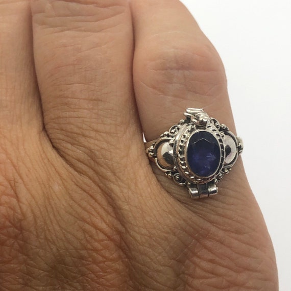 Poison Ring, Iolite Silver Poison Ring Size 5 1/4,