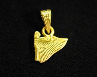 Winged goddess Isis pendant,amazing 18K  gold , Egyptian handmade.