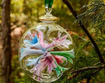 Amazing Egyptian Blown Glass Ornament- multi colors/red/blue/purple/gold/green flower burst