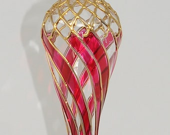 Amazing Egyptian Blown Glass Ornament- many colors net oval drop with gold accent