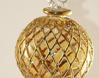 Egyptian Blown Glass Ornament –colored clear with golden accents