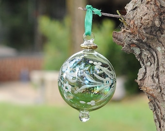Egyptian Blown Glass Ornament – green/gold/blue with silver leaf