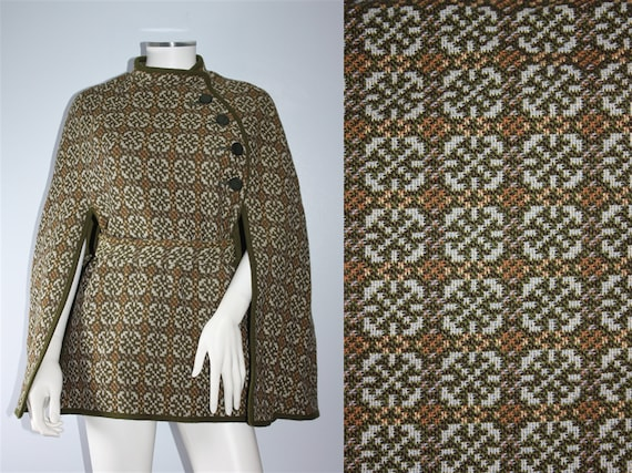 WELSH TAPESTRY cape in shades of green , CYMRU cra