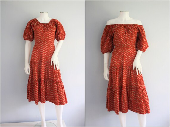 LAURA ASHLEY boho PRAIRIE dress,  red floral off s