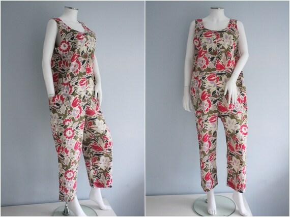 LAURA ASHLEY jumpsuit, floral DUNGAREES cotton pla