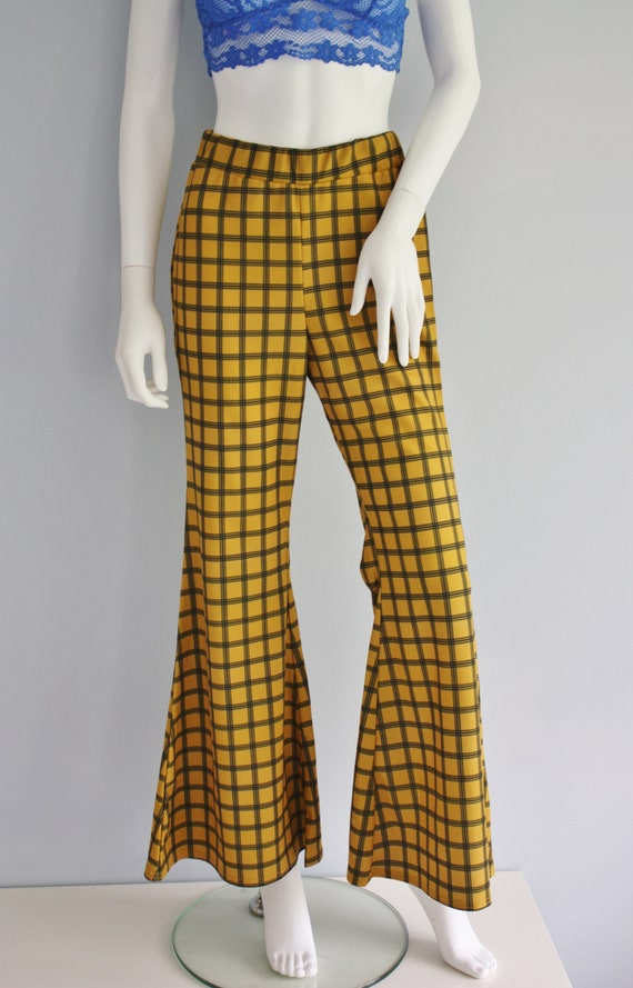 YELLOW checked FLARES, bell bottoms trousers, FLA… - image 2