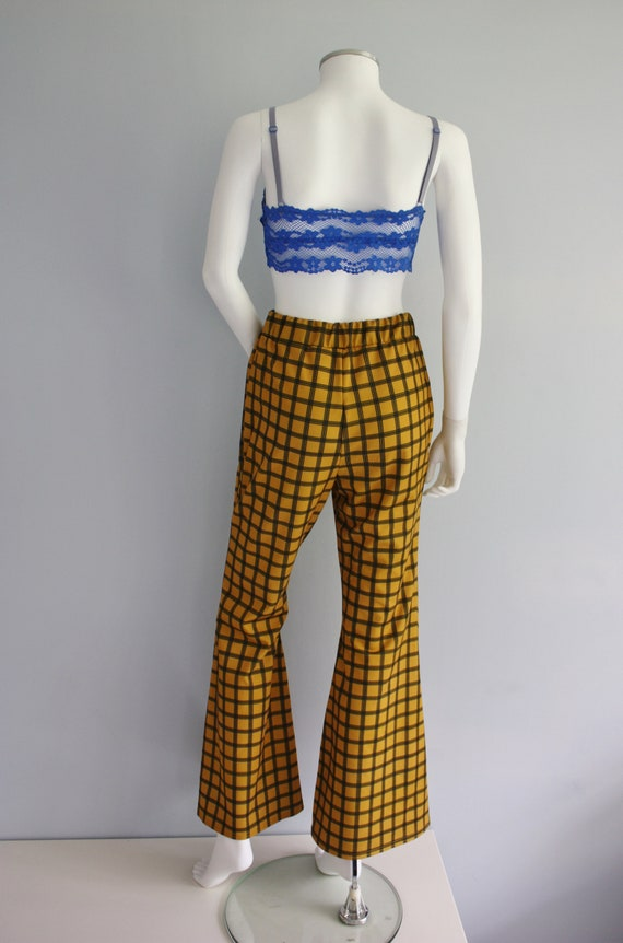 YELLOW checked FLARES, bell bottoms trousers, FLA… - image 8