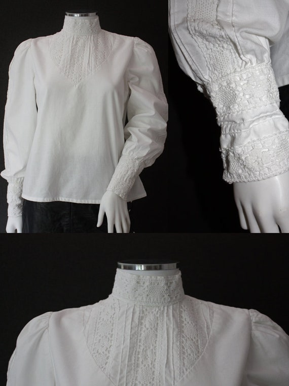 70's RUFFLED high neck white COTTON blouse , VICTO