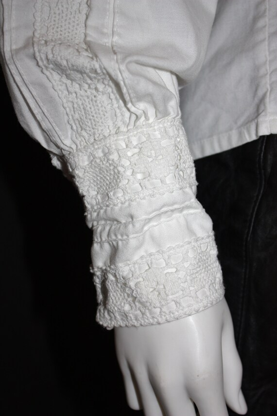 70's RUFFLED high neck white COTTON blouse , VICT… - image 8