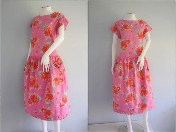 LAURA ASHLEY pretty PINK cotton smock dress