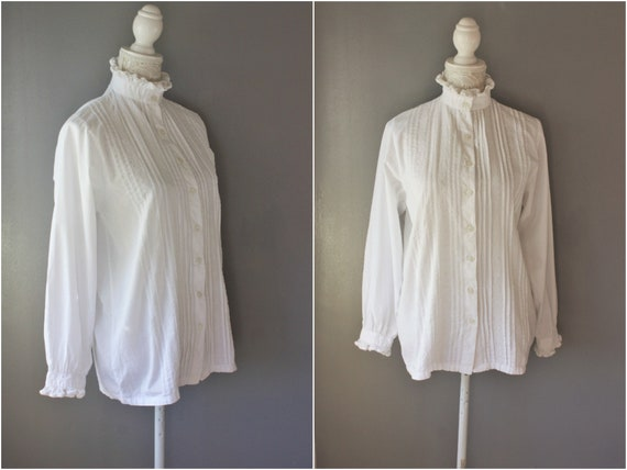 RUFFLED high neck white COTTON blouse , VICTORIAN