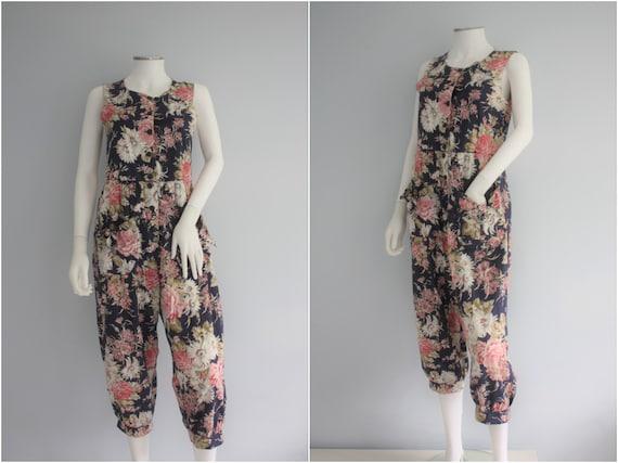 LAURA ASHLEY jumpsuit, floral PLAYSUIT, cotton rom