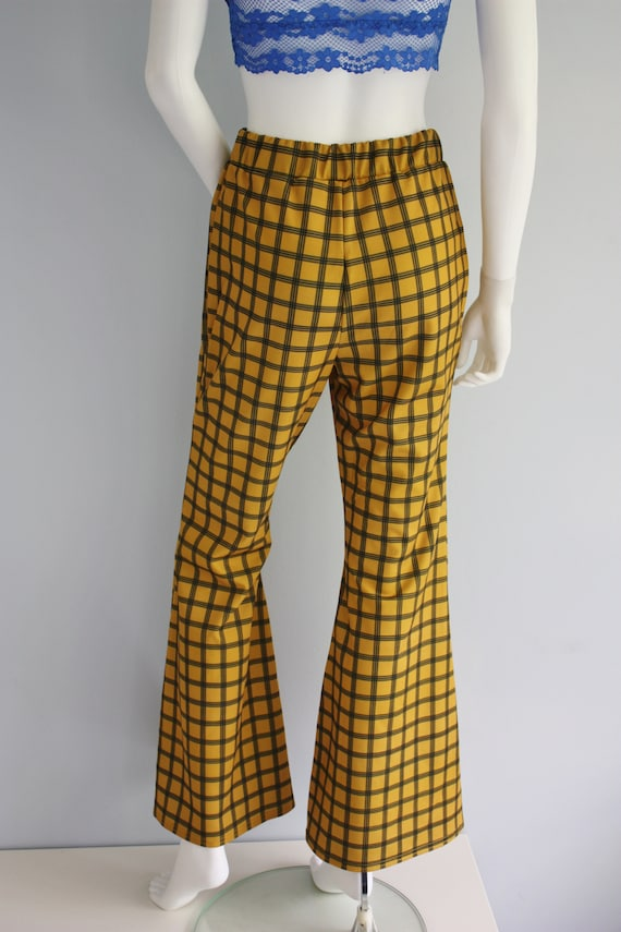 YELLOW checked FLARES, bell bottoms trousers, FLA… - image 9