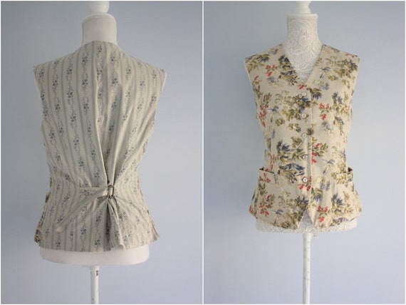 LAURA Ashley WAISTCOAT , FLORAL fitted waistcoat /