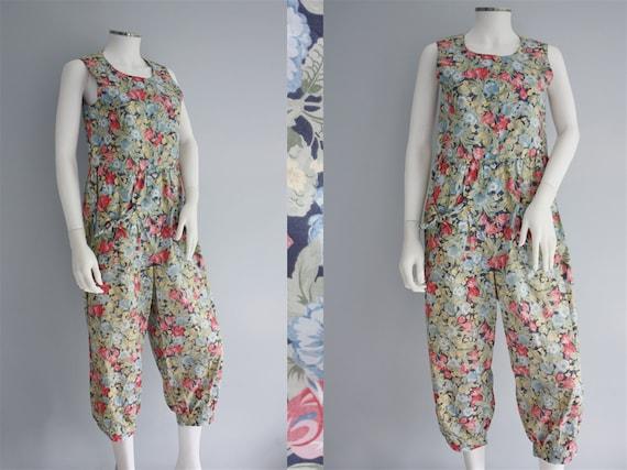 LAURA ASHLEY jumpsuit, floral cotton PLAYSUIT, blu