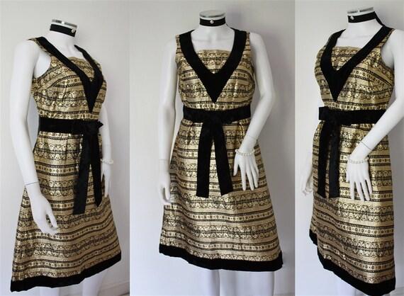 60s 70s JEAN VARON gold BROCADE metallic fabric ev