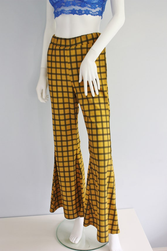 YELLOW checked FLARES, bell bottoms trousers, FLA… - image 7