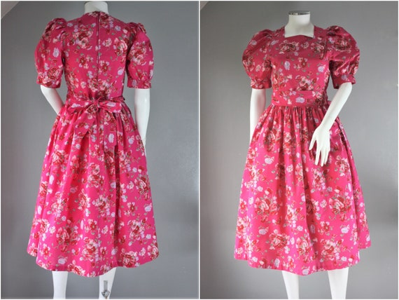 LAURA ASHLEY floral dress, bright pink COTTON even