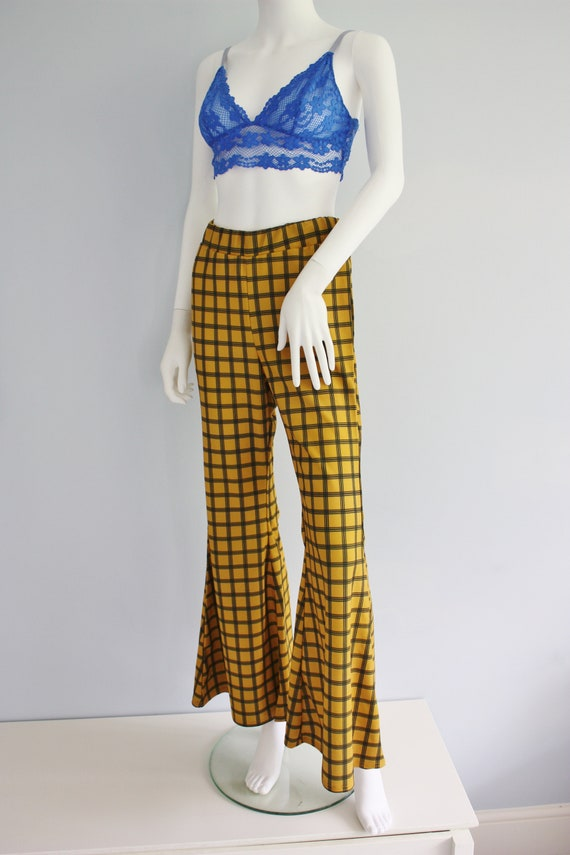 YELLOW checked FLARES, bell bottoms trousers, FLA… - image 6