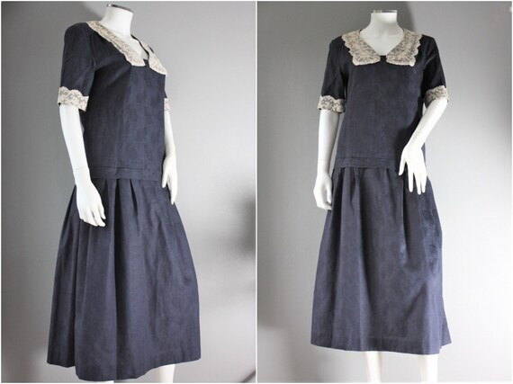 LAURA ASHLEY dark blue SAILOR style dress with a d