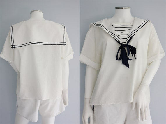 LAURA ASHLEY white SAILOR top / blouse / shirt, 50