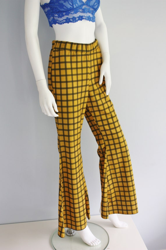YELLOW checked FLARES, bell bottoms trousers, FLA… - image 4