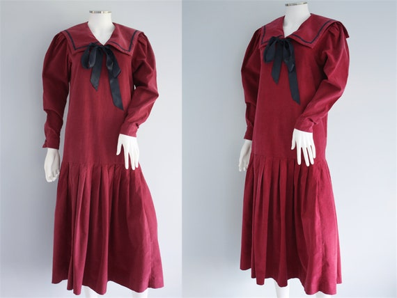 LAURA ASHLEY red SAILOR dress, ruby red cord / cor
