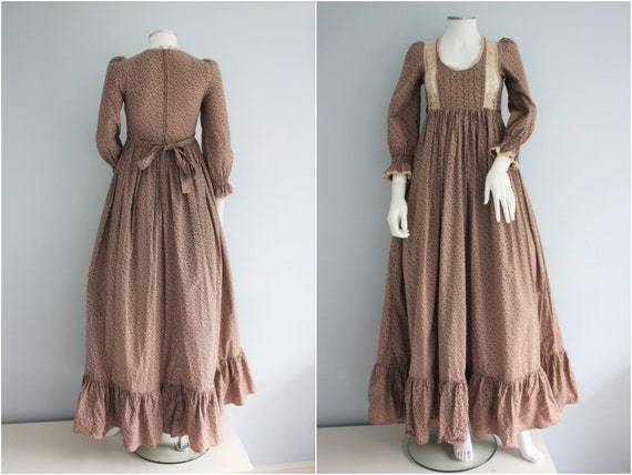 70's LAURA ASHLEY brown floral MILKMAID dress ,  p