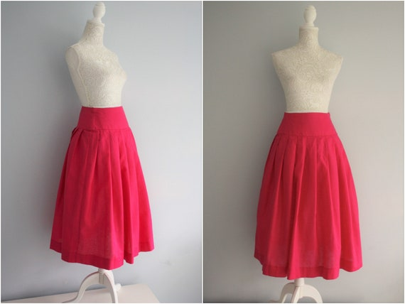 LAURA ASHLEY bright pink SKIRT,  high waisted line