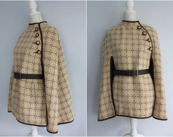 WELSH TAPESTRY cape in shades of brown, Eclipse tailored CYMRU craft Welsh Woollens cloak poncho