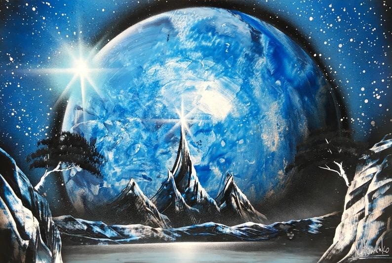 Blauw schilderij kunst aan de muur jongen jongens wand decor etsy