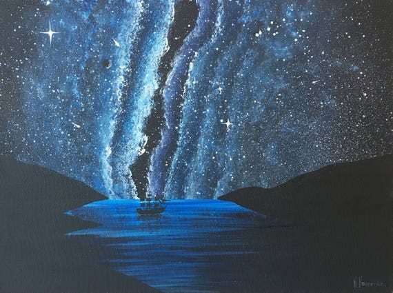 Platz Kunst Malerei Sternenhimmel Acryl Malerei Auf Leinwand Etsy