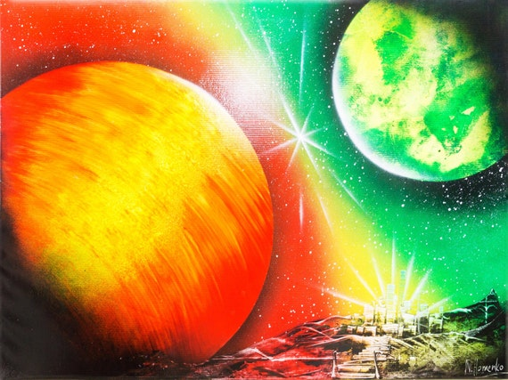 Spray paint art Orange Green giant planets Space painting | Etsy