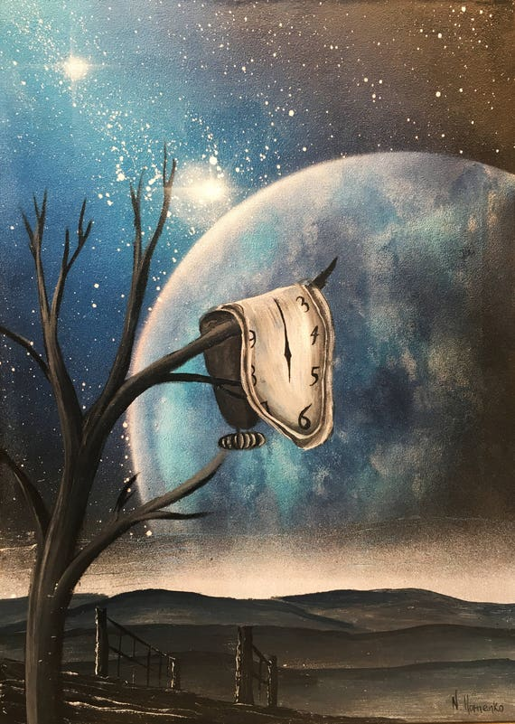 Dali Art Dali Painting Salvador Dali Clock Persistence Of Etsy