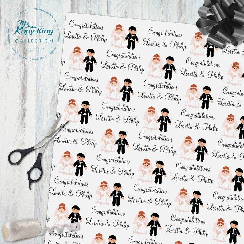 Personalized Wedding Wedding Gift Wrap Gift Wrap Rolls Wedding Wrapping Paper Unique Present Wrapping Paper Bride and Groom