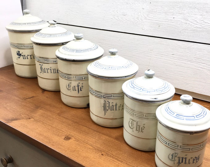 Antique French Enamel Canisters - Set of Six