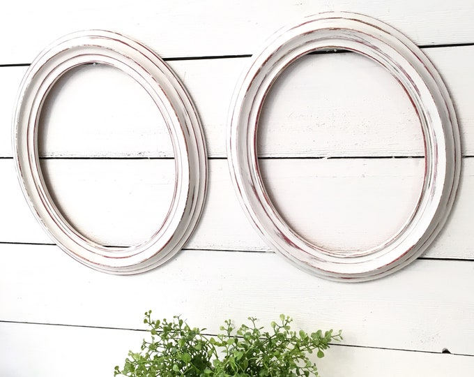 Vintage Oval Frames - White Wood (Price is for the pair)