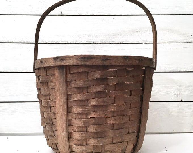 Antique Gathering Basket - Bentwood Swing Handle (Contact us about shipping)