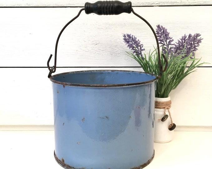 Vintage Blue Enamel Bucket - pail with handle