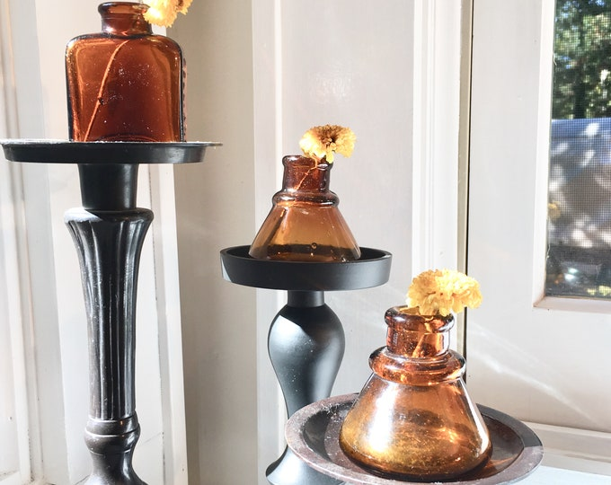 Antique Amber Inkwells and Apothecary Bottle - Set of Three