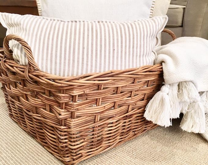 Vintage Basket - Large Two Handled Floor Basket - ** LOCAL PICKUP**