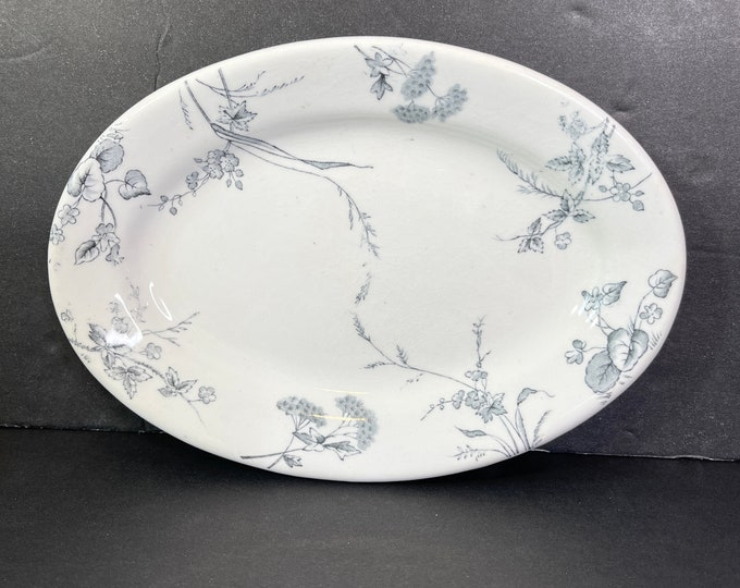 Antique Ironstone Oval Plate - Rare Rosedale - Made in England