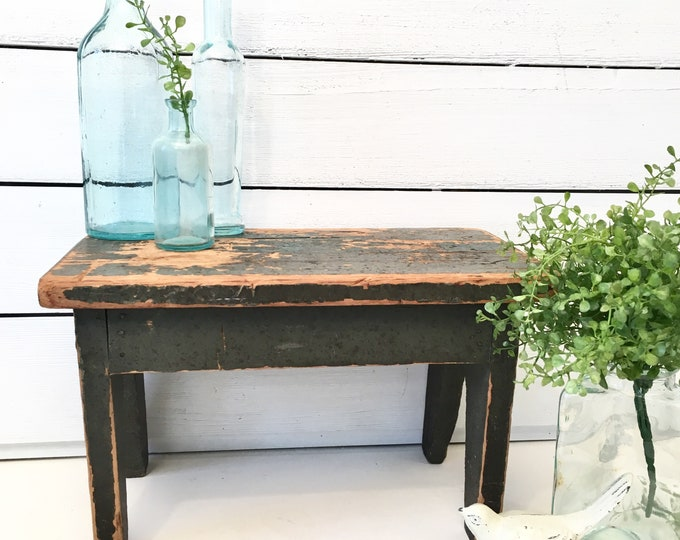 Vintage Stool  or Bench - Green Chippy - Farmhouse Style