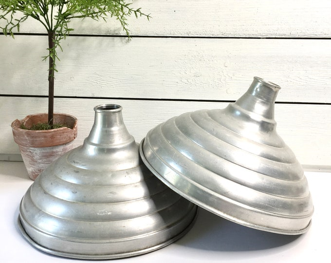 Vintage Pendant Shades - Aluminum - Price is for the pair