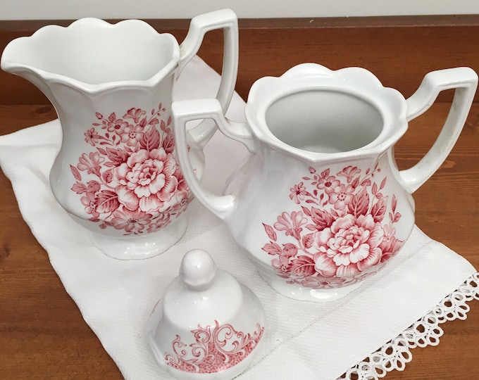 Vintage Ironstone Creamer and Sugar Bowl - Royal Staffordshire by Meakin