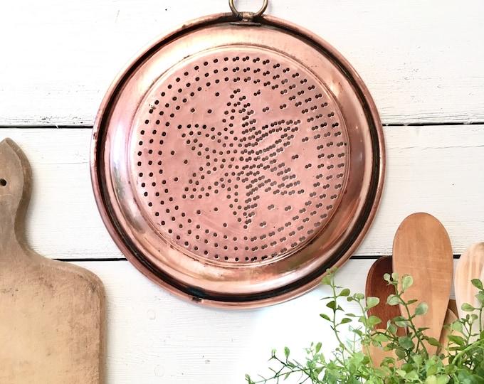 Vintage Copper Strainer Pan