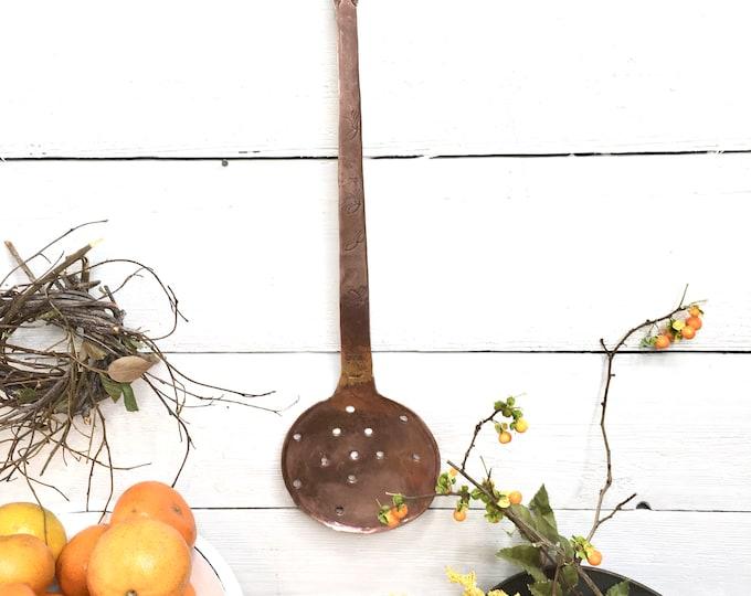 Antique Copper Strainer Spoon - Skimmer Ladle